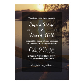 Elegant Lake Sunset Wedding Card