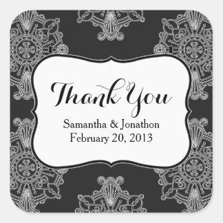 Elegant Large Black Medallion Wedding Thank You Square Sticker
