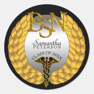Elegant Laurel Wreath BSN Nursing Degree Caduceus Round Sticker