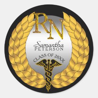 Elegant Laurel Wreath RN Nursing Caduceus Round Sticker
