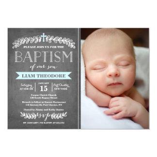 Elegant Laurels Blue   Baptism Invitation