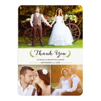 Elegant Laurels Wedding Thank You Photo Flat Card 13 Cm X 18 Cm Invitation Card