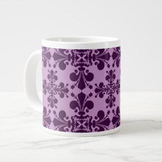 Elegant lavender and purple fleur de lis damask large coffee mug