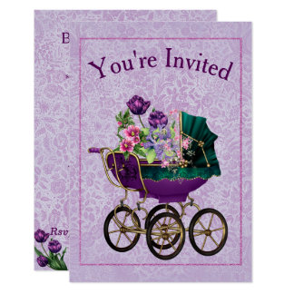 Elegant lavender baby carriage Baby Shower Card