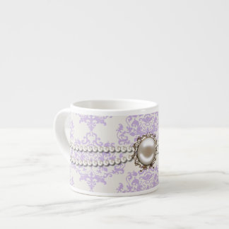 Elegant Lavender Damask with Pearls Espresso Mug