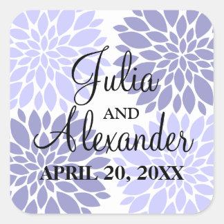 Elegant Lavender Floral Burst Wedding Seals Sticker