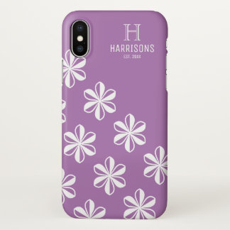 Elegant Lavender Floral Personalized Family Name iPhone X Case