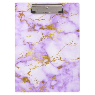 Elegant Lavender Gold Faux Metallic Marble Pattern Clipboard