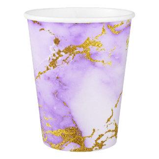 Elegant Lavender Gold Faux Metallic Marble Pattern Paper Cup