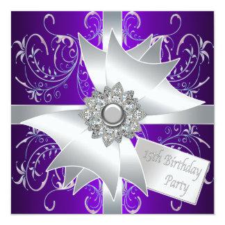Elegant Lavender Purple 15th Birthday Party Card