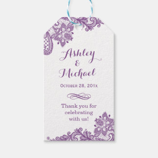 Elegant Lavender Purple Lace Wedding Thank You Gift Tags