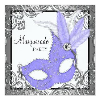 Elegant Lavender Purple Mask Masquerade Party 13 Cm X 13 Cm Square Invitation Card