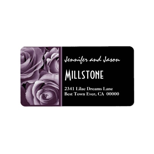 Elegant Lavender Purple Roses Modern Lettering Address Label