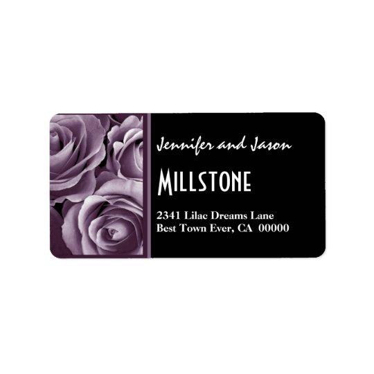 Elegant Lavender Purple Roses Modern Lettering Address Label