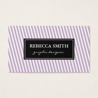 Elegant Lavender White Stripes Business Card