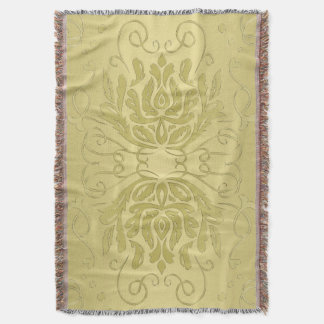 Elegant Layered Gold Floral Damask Blanket