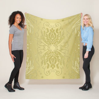 Elegant Layered Gold Floral Damask Fleece Blanket