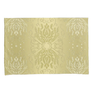 Elegant Layered Gold Floral Damask Pillowcases