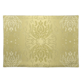 Elegant Layered Gold Floral Damask Placemat