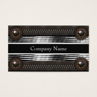 Elegant Leather Brown Metal Silver Business Card