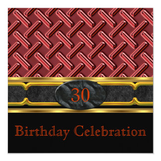 """Elegant Leather Rust Red Metal Gold Birthday Party 5.25"""" Square Invitation Card"""
