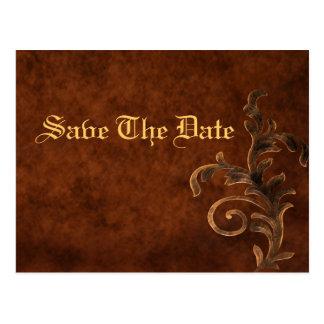 Elegant Leather Scroll Leaf Save The Date Card Postcard