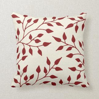 Elegant Leaves Throw Pillow / Burgundy