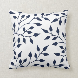 Elegant Leaves Throw Pillow / Navy White