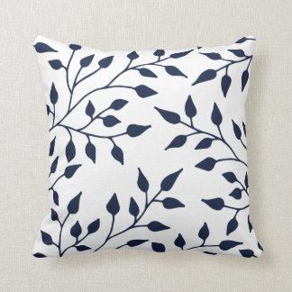Elegant Leaves Throw Pillow / Navy White