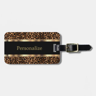Elegant Leopard Animal Print | DIY Text Luggage Tag