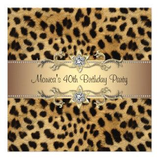 Elegant Leopard Birthday Party Announcement