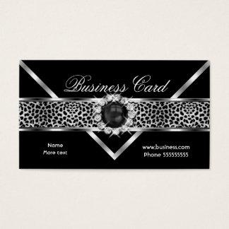 Elegant Leopard Black Silver Diamond Black Pearl