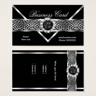 Elegant Leopard Black Silver Diamond Black Pearl Business Card