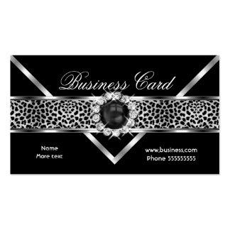 Elegant Leopard Black Silver Diamond Black Pearl Pack Of Standard Business Cards