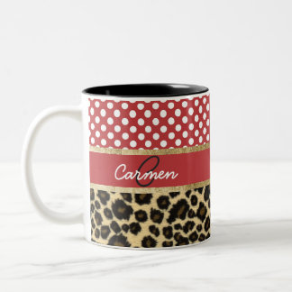 Elegant Leopard Print and Polka Dot Monogram Two-Tone Coffee Mug