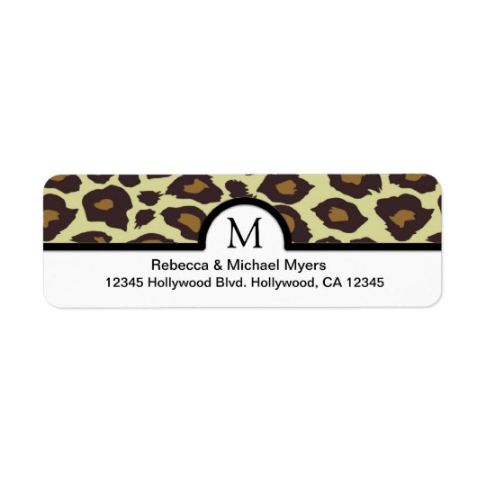 Elegant Leopard Return Labels with Monogram