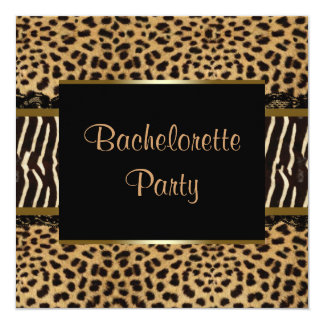 Elegant Leopard Zebra Bachelorette Party Custom Invite