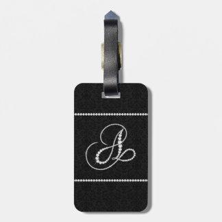 Elegant Letter A Sparkling Diamonds-Monogram Bag Tags