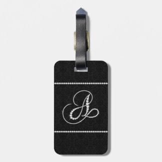 Elegant Letter A Sparkling Diamonds-Monogram Luggage Tag