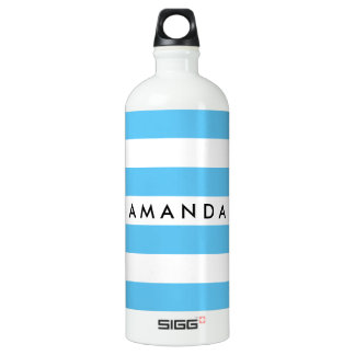 Elegant light blue and white striped personalized water bottle