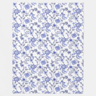 Elegant Light Blue Gray White Floral Chintz Fleece Blanket