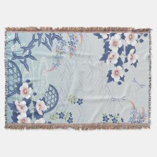 Elegant Light Blue Japanese Flower Garden Throw Blanket