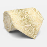 Elegant Light Gold And Ivory Paisley Pattern Tie