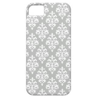 Elegant Light Gray and White Damask iPhone 5 Case