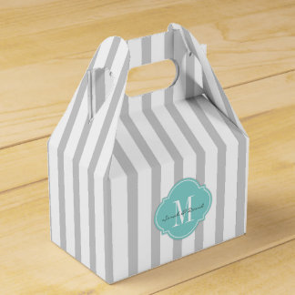 Elegant Light Gray and White Stripes with Monogram Favour Box