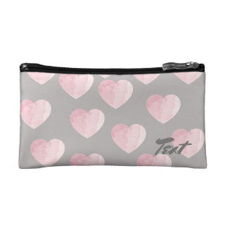 elegant light pink color love hearts pattern cosmetic bags