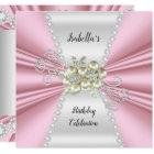 Elegant Light Pink Pearl White Diamond Birthday Card
