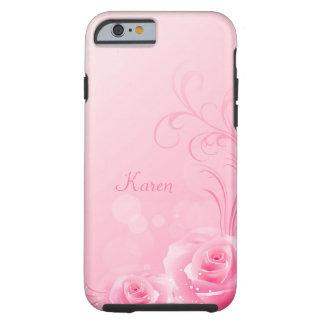 Elegant Light Pink Swirl Rose Pattern Monogrammed Tough iPhone 6 Case