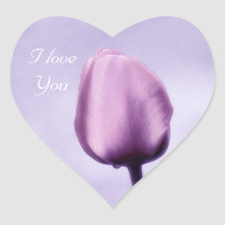 Elegant Light Purple Tulip I Love You Heart Sticker