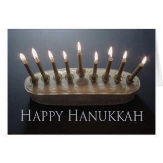Elegant lighted menorah Hanukkah card